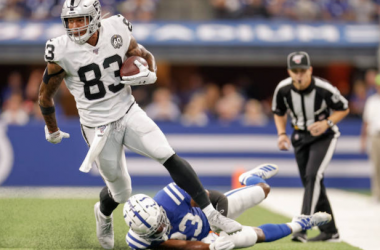 Darren Waller in action for the Oakland Raiders against the Indianapolis Colts (Photo: Michael Hickey)