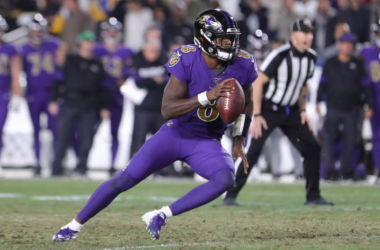 Lamar Jackson in action against the Los Angeles Rams in Week 12 (Photo: Leon Bennett)