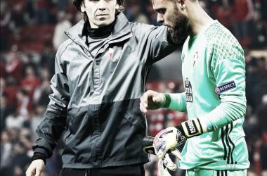 Sergio llorando tras caer eliminado en Old Trafford en 2017 / Fuente: RC Celta