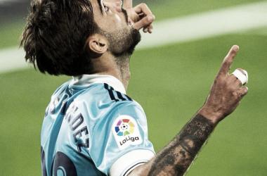 Brais Méndez celebrando uno de sus goles / Fuente: LaLiga