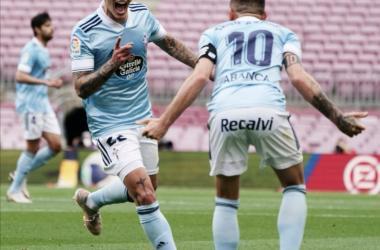 Mina y Iago Aspas celebrando el primer gol de los celestes/ Foto: RC Celta