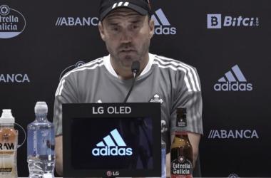 Coudet en la rueda de prensa / Fuente: RC Celta