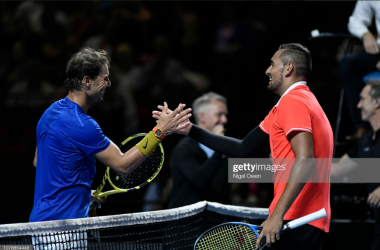 Nadal and Kyrgios met at a Fastt4 exhibition event in Australia earlier this year (Getty Images/Nigel Owen)