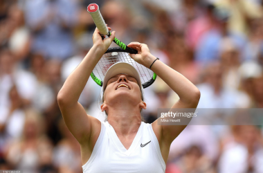 Simona Halep celebrates reaching her first Wimbledon final (Getty Images/Mike Hewitt)