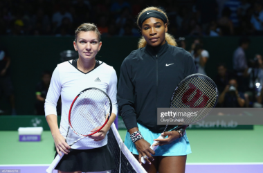 Halep and Williams, pictured here at the 2014 WTA Finals, meet for the 11th time tomorrow. Williams leads the head to head 9-1.