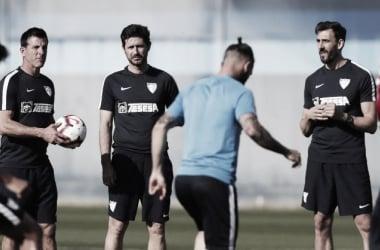 Sánchez del Amo durante su primer entrenamiento a los mandos del Málaga CF. FOTO: Málaga CF.