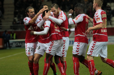 Reims gagne et sort de la zone rouge. Photo : site officiel du Stade de Reims