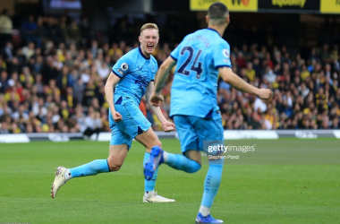 <div>WATFORD, ENGLAND - SEPTEMBER 25: Sean Longstaff of Newcastle United celebrates scoring his sides first goal during the Premier League match between Watford and Newcastle United at Vicarage Road on September 25, 2021 in Watford, England. (Photo by Stephen Pond/Getty Images)</div>