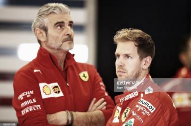 Sebastian Vettel y Maurizio Arrivabene. Foto: Getty Images.