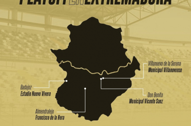 Mapa de Extremadura con las sedes en las que se disputarán los partidos de Playoffs// Foto: CD Badajoz