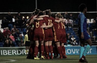 La selección española celebrando un gol | Fotografía: Selección Fútbol