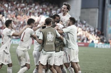 Los jugadores de la Selección Española de fútbol durante la Eurocopa// Foto: @SeFutbol