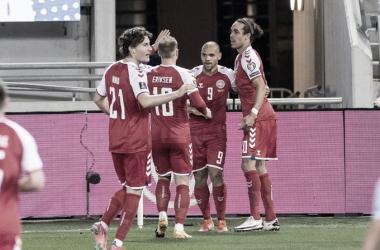 Celebración gol de Dinamarca // Fuente: Selección de Dinamarca