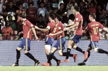 La sub-17 celebrando un gol en el pasado Mundial. / Foto: EFE