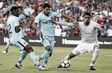 Semedo y Suárez en un partido de pretemporada ante el Manchester United / Foto: FC Barcelona