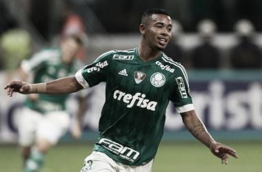 Gabriel Jesus comemorando o gol de empate (Foto: César Greco/Divulgação Palmeiras)