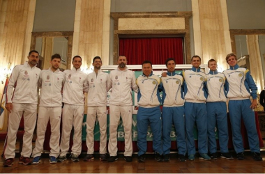 Serbia and Kazakhstan's 2016 Davis Cup teams/Photo: Srdjan Stevanovic