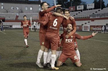 Sergi Arranz celebrando el 1-0 | Foto: Juanma Medina (Terrassa FC)
