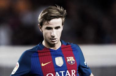 Samper durante un encuentro con el F.C. Barcelona en Liga   Fotografía: F.C. Barcelona