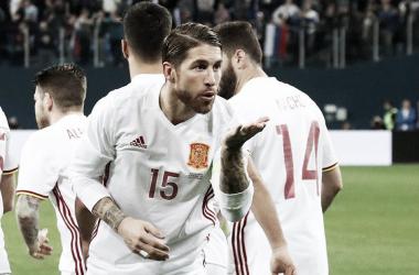 Sergio Ramos en la celebración de su primer gol del amistoso frente a Rusia I Foto: Reuters
