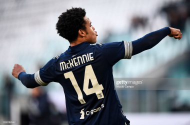 Weston McKennie celebrates Juve's second goal. (Photo by Nicolò Campo/LightRocket via Getty Images)