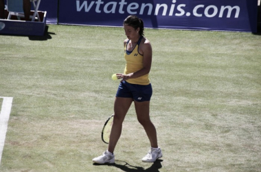 Anastasija Sevastove getting ready to serve at the Mallorca Open (Photo: Mallorca Open)