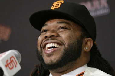 Signing free agent pitcher Johnny Cueto from the World Series Champion Kansas City Royals is one reason the Giants are expected to win the most games in 2016 - Photo Credit: AP Photo/Eric Risberg