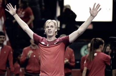 Denis Shapovalov celebrates sending Canada back into the Davis Cup World Group for 2018. Photo: CP