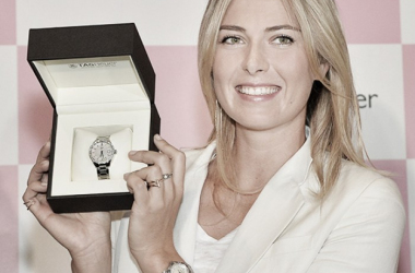 Maria Sharapova poses with the latest Tag Heuer watch (Source: Tag Heuer)