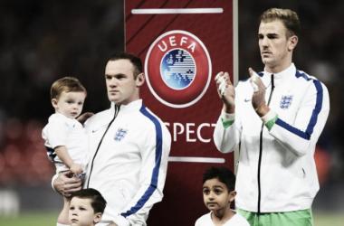 Rooney y Hart previo a un partido rumbo a la Euro. Foto: Shaun Botterill.