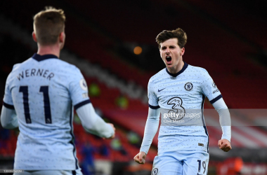 SHEFFIELD, ENGLAND - FEBRUARY 07: Mason Mount of Chelsea celebrates after scoring their side's first goal during the Premier League match between Sheffield United and Chelsea at Bramall Lane on February 07, 2021 in Sheffield, England. Sporting stadiums around the UK remain under strict restrictions due to the Coronavirus Pandemic as Government social distancing laws prohibit fans inside venues resulting in games being played behind closed doors. (Photo by Clive Mason/Getty Images)