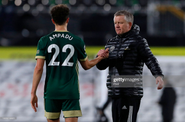 "Chris Wilder and Ethan Ampadu following their defeat to Fulham- Photo by&nbsp;<div><span style=""color: rgb(8, 8, 8); font-family: Lato, sans-serif; font-size: 12px; font-style: normal; text-align: start; background-color: rgb(244, 244, 244);"">Getty Images Europe</span><br></div>"