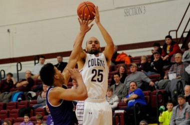 Damon Sherman-Newsome (30 points) and the Colgate Raiders cruised to a 74 - 60 win over the Holy Cross Crusaders in Patriot League play. (Source: Colgate Raiders Athletics)