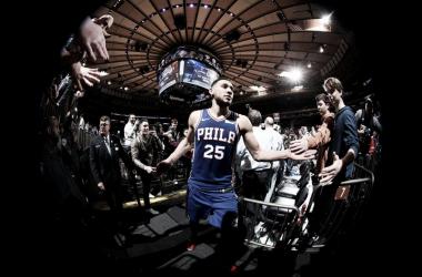 Ben Simmons tras el partido de esta madrugada contra los Knicks | foto: nba.com