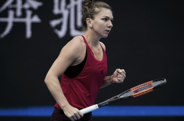 Simona Halep celebrates after winning a point during her third-round win over Maria Sharapova—her first in eight meetings against the Russian. | Photo: Jimmie48 Tennis Photography