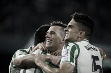 Celebración del Betis 1-0 Villareal, (Vía: realbetisbalompie.es)