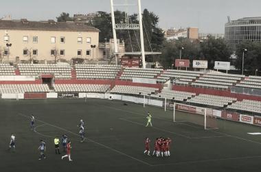 El Terrassa celebra el 1-0 | Foto: Dani Alcaraz