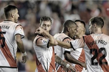Embarba celebrando uno de sus goles ante el Mirandés en Vallecas ! Foto: Rayo Vallecano S.A.D.