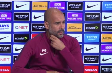 Guardiola en su entrevista previa al Watford-Manchester City / Foto: Manchester City