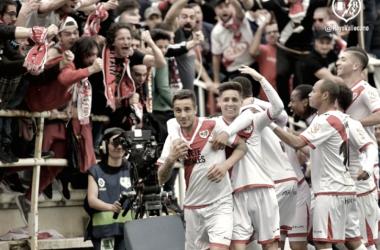 Celebración del gol de Trejo ante el Cádiz. Foto: Rayo Vallecano S.A.D.