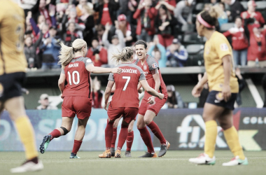 Christine Sinclair scored her sixth goal of the season in a 2-0 win at Providence Park in Portland, OR on May 25, 2018 | Photo: NWSLsoccer.com