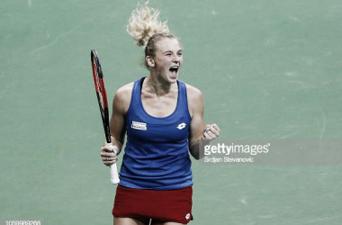 Katerina Siniakova celebrates the tricky victory | Photo: Srdjan Stevanovic / Getty