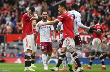 <div>Manchester United v Aston Villa - Premier League</div><div>MANCHESTER, ENGLAND - SEPTEMBER 25: Bruno Fernandes of Manchester United looks dejected after missing a penalty during the Premier League match between Manchester United and Aston Villa at Old Trafford on September 25, 2021 in Manchester, England. (Photo by Gareth Copley/Getty Images)</div>