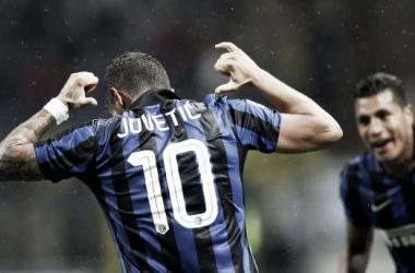 Jovetic celebrates the winner. Image credit: eurosport.