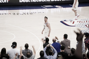 McConnell celebrates after scoring a three-pointer ball against Boston Celtics at Wells Fargo Center Philadelphia on Monday, April, 07. Photo: 76ers/Twitter