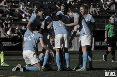 Players of Sky Blue FC celebrate after scoring against the Seattle Reign | Source: Brandon Farris - VAVEL USA