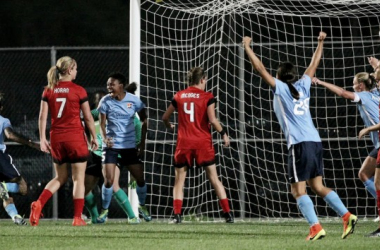 Sky Blue FC celebrates their first half goal   Source: Robyn McNeil - ISI Photos