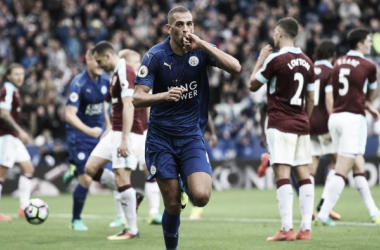 Slimani celebra el 1-0. Foto: Premier League