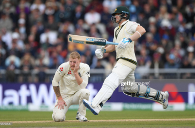 Ben Stokes watches on as Steve Smith scores yet more runs (Photo: Getty Images)