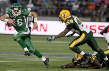 Brett Smith (16) replaced the injured Kevin Glenn in Week Five for Saskatchewan - The Canadian Press/ Jason Franson